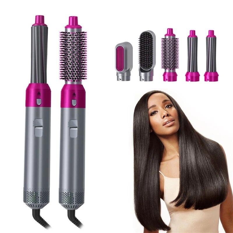 5 In 1 Hair Dryer Kit Electric Blow Dryer Hot Air Brush Styler Volumizer Hair Straightener Curler Comb Negative Ion Hair Dryer