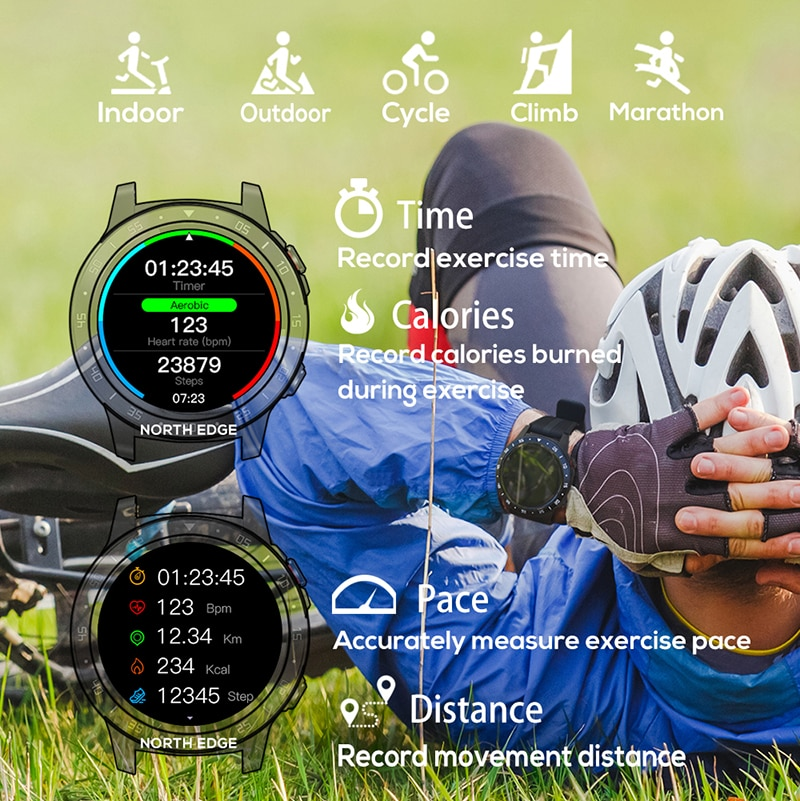 NORTH EDGE GPS Smart Watch Running Sport Bluetooth Phone Smartwatch Waterproof Heart Rate Compass Altitude Clock IOS Android enlarge