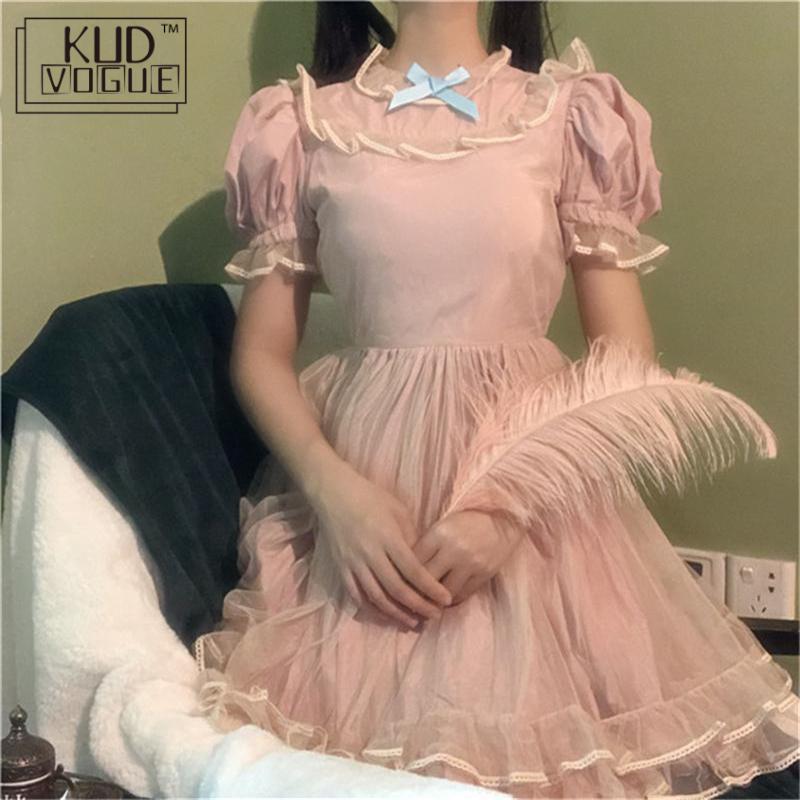 Японское Тюлевое платье в стиле Лолиты для женщин, кавайное розовое летнее мягкое милое платье с высокой талией и пышными рукавами, Сетчатое платье феи