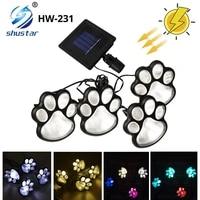 solar paw print light outdoor waterproof led garden decoration lights cat puppy animal garden lights for paths lawns yards