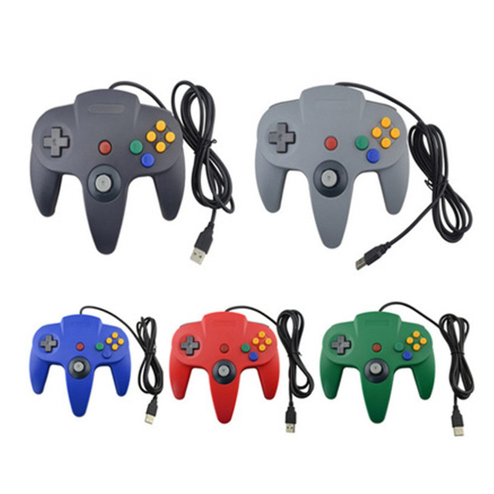 100pcs USB Gamepad Wired Controller Game Joypad Joystick For N64 PC Computer M AC