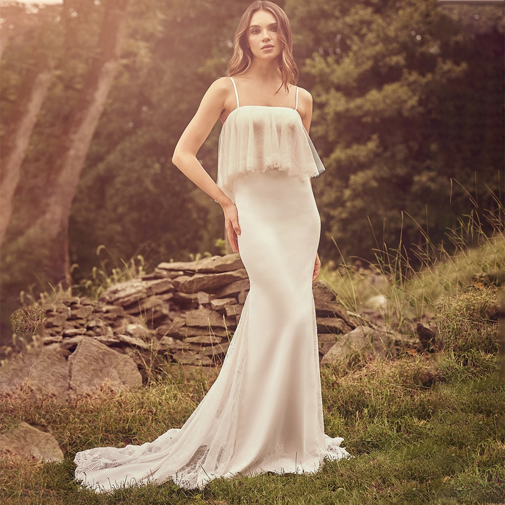 Promo 2021 Spaghetti Straps Satin Wedding Guest Bride Dress Lace Train Mermaid Buttons Up Backless Bridesmaid Gown Rustic Plus Size