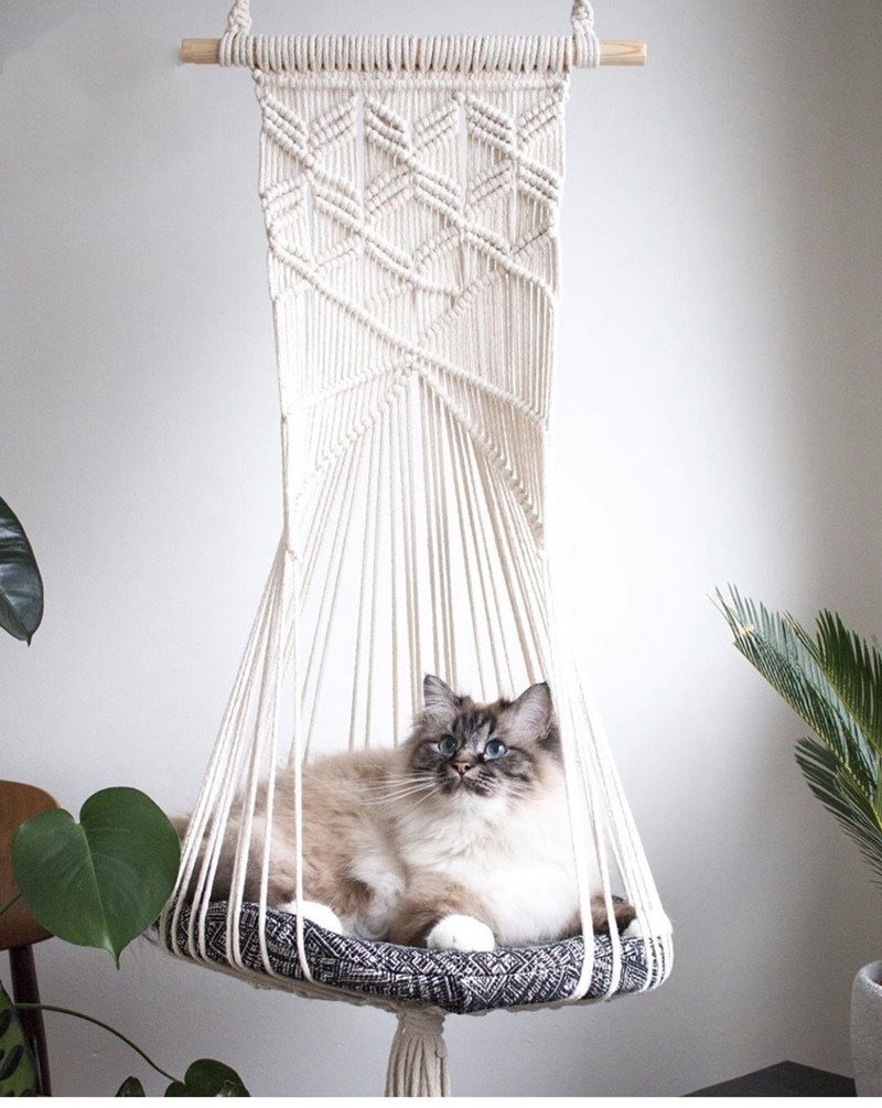 Macramé colgante de pared nido de gato Ins tapiz de pared tejido a mano gato gatos cachorros hamaca juguete de gato colchón de dormir gato nido suave