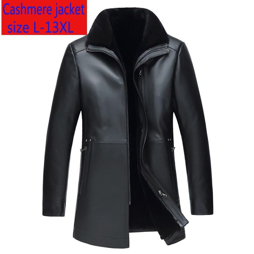 جديد جودة عالية الجلود معطف الرجال الصوف الداخلية سميكة المنك طوق معطف جلد الغنم فضفاض عادي الفاخرة حجم كبير L-10XL11XL