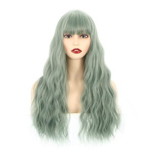 """VCKOVCKO Long Natural Loose Curly Wavy Wigs With Air Bangs for Women Synthetic Wigs Green Wigs for Party Daily Use wigs 26"""""""