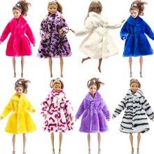 NK 1x Mix Doll płaszcz zima flanelowe płaszcz futrzany sukienka ubrania dla Barbie akcesoria dla lalek dużo kolor strój L3 JJ