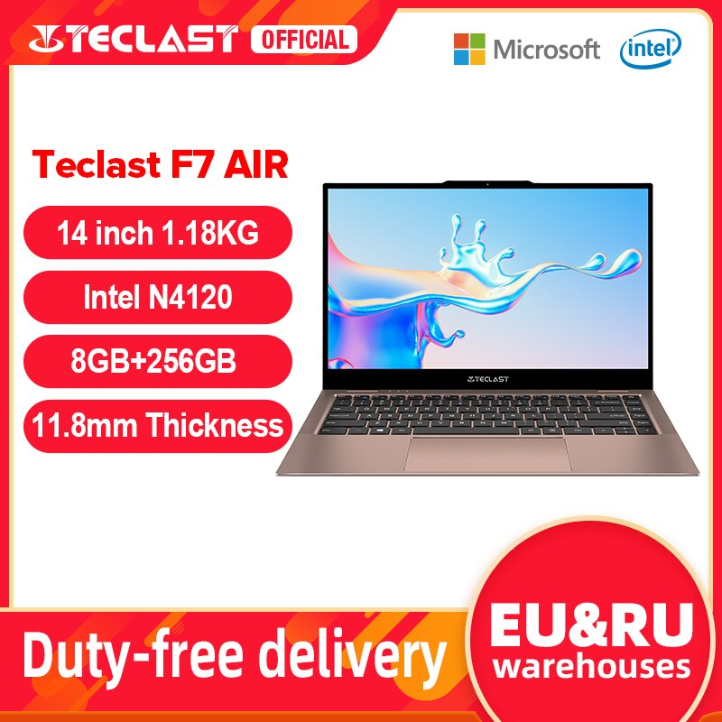 Teclast F7 Air Ultra Thin Laptop 14 inch Intel N4120 8GB LPDDR4 256GB SSD Notebook 1920x1080 FHD Win