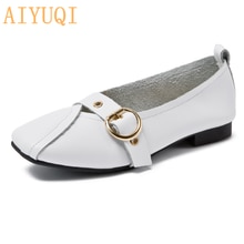 AIYUQI Women Shoes Fashion 2021 New Genuine Leather Ladies Flat Shoes Comfortable Square Buckle Larg