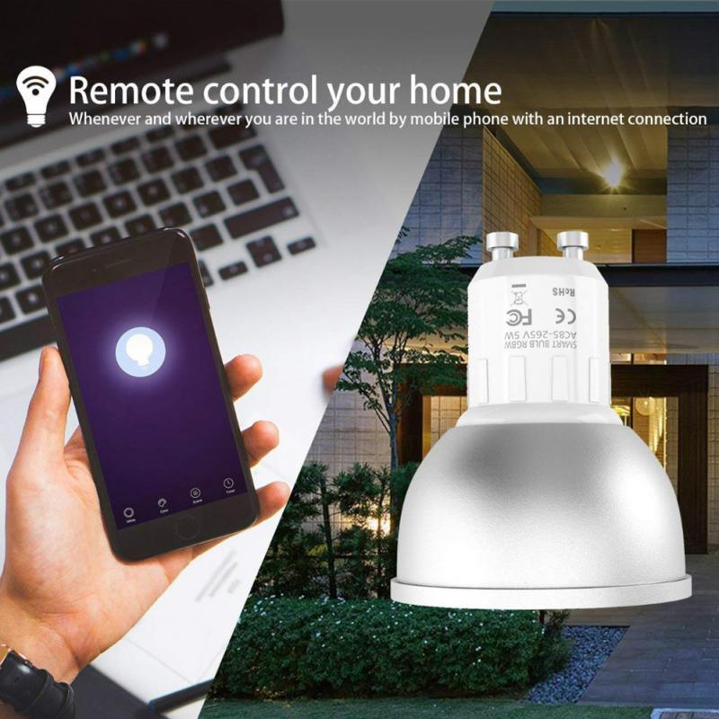 6 pièces GU10 variateur LED lampe tuya vie intelligente projecteur ampoule Wifi bas ampoule LED 5W RGB + W APP contrôle Alexa Google Home