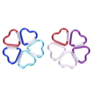 10pcs Outdoor Camping Hiking Keychain Snap Clip Hook Heart-shaped Carabiner Kettle Buckle Aluminum Alloy Carabiner Accessoriess