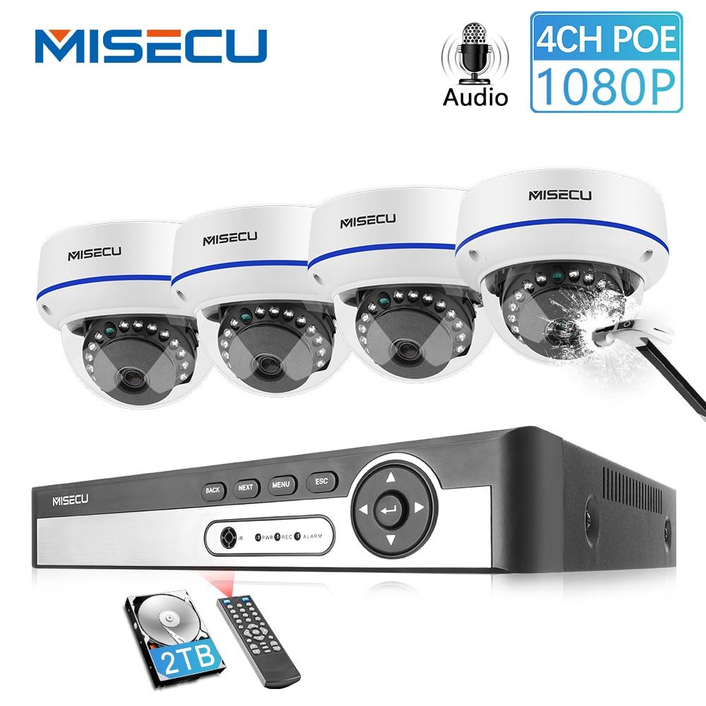 MISECU 4CH 5MP POE NVR וידאו אבטחת מערכת 2/4PCS 2MP 1080P POE IP כיפה מצלמה אודיו ונדאל הוכחת ערכת מעקב