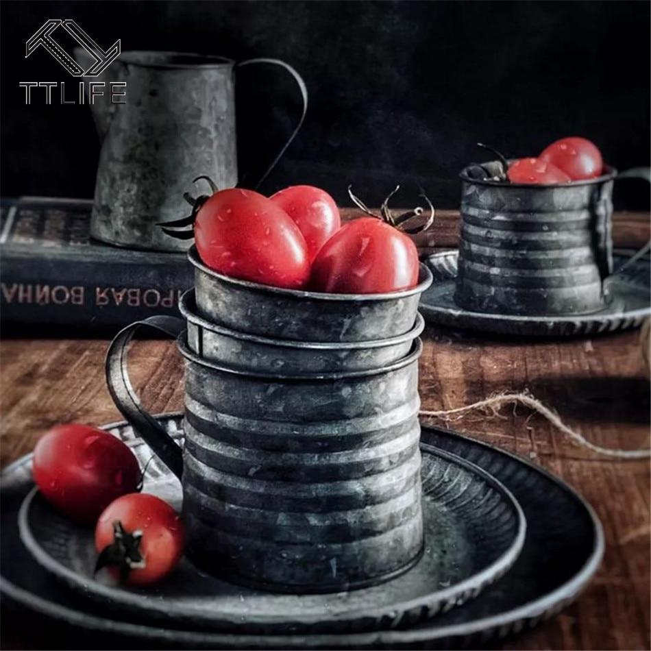 Accesorios de fotografía Retro, jarrón de hierro forjado Vintage, taza de comida, fruta, taza café hogar cocina o cafetería Taza de Viaje