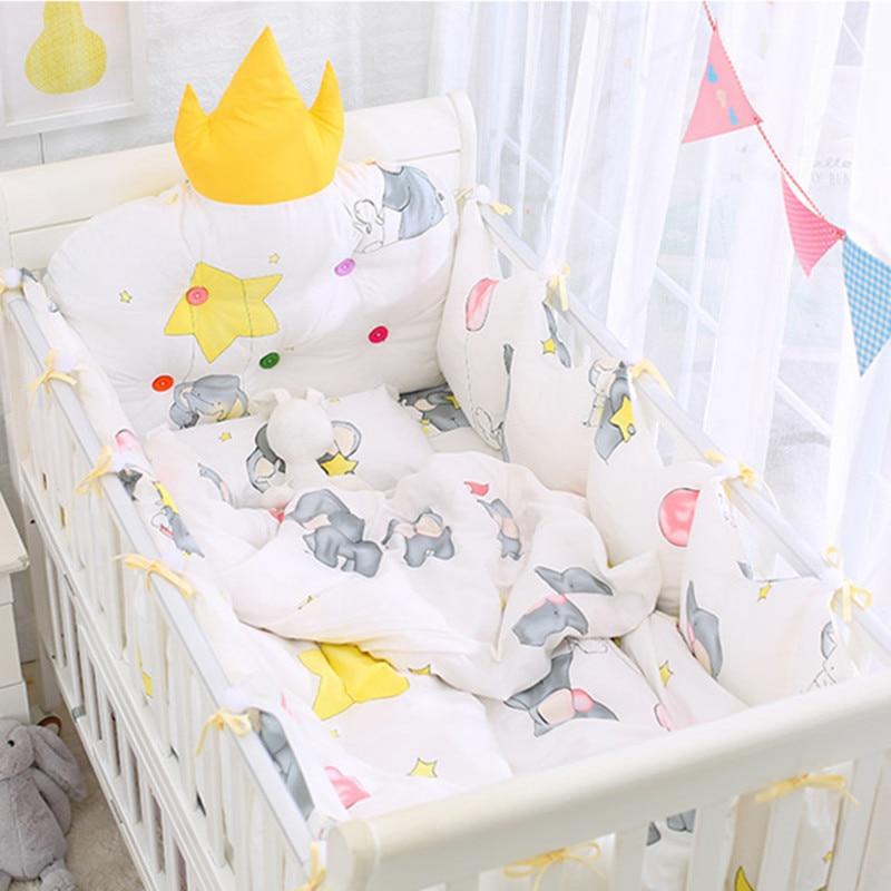 Горячая Корона 5 шт Съемные постельные принадлежности безопасная защита бамперы + простыня для кровати хлопок детская кроватка постельные ...
