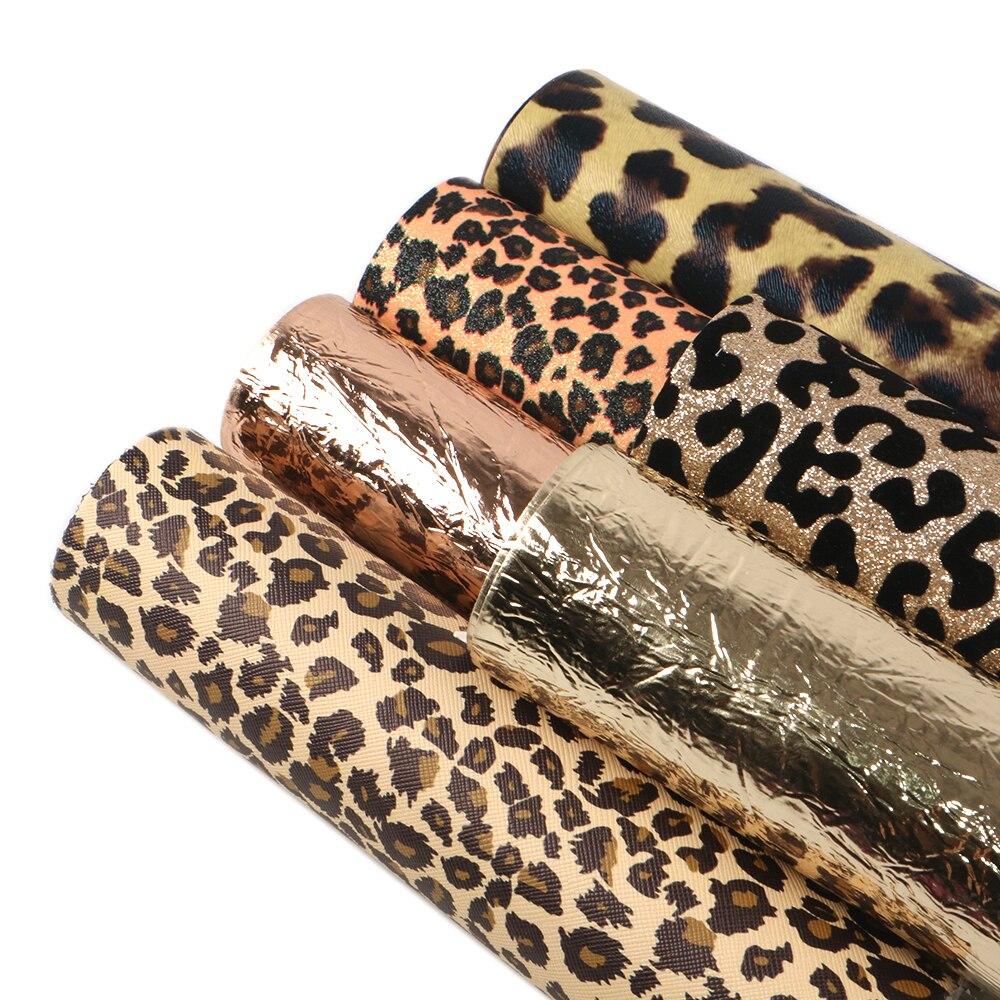 20x34cm 6 unids/set leopardo serie marrón piel sintética falsa tela hojas, DIY materiales hechos a mano para bolsa, 1Yc7442