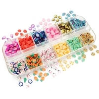 12 gridsset easter day eggs polymer clay slices slimes nail sequins manicure 3d flakes easter bunny design decorations