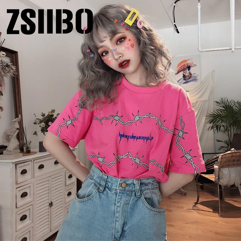 Harajuku Women's Thorns Pattern Streetwear T Shirt Loose Short Sleeve Unisex Tees Couple Clothes Grunge Tumblr Tops bf punk