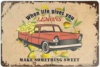 Plaque decorative murale en metal  style retro  quand la vie vous donne des citrons  faire quelque chose de doux  pour la maison  Bar  Restaurant