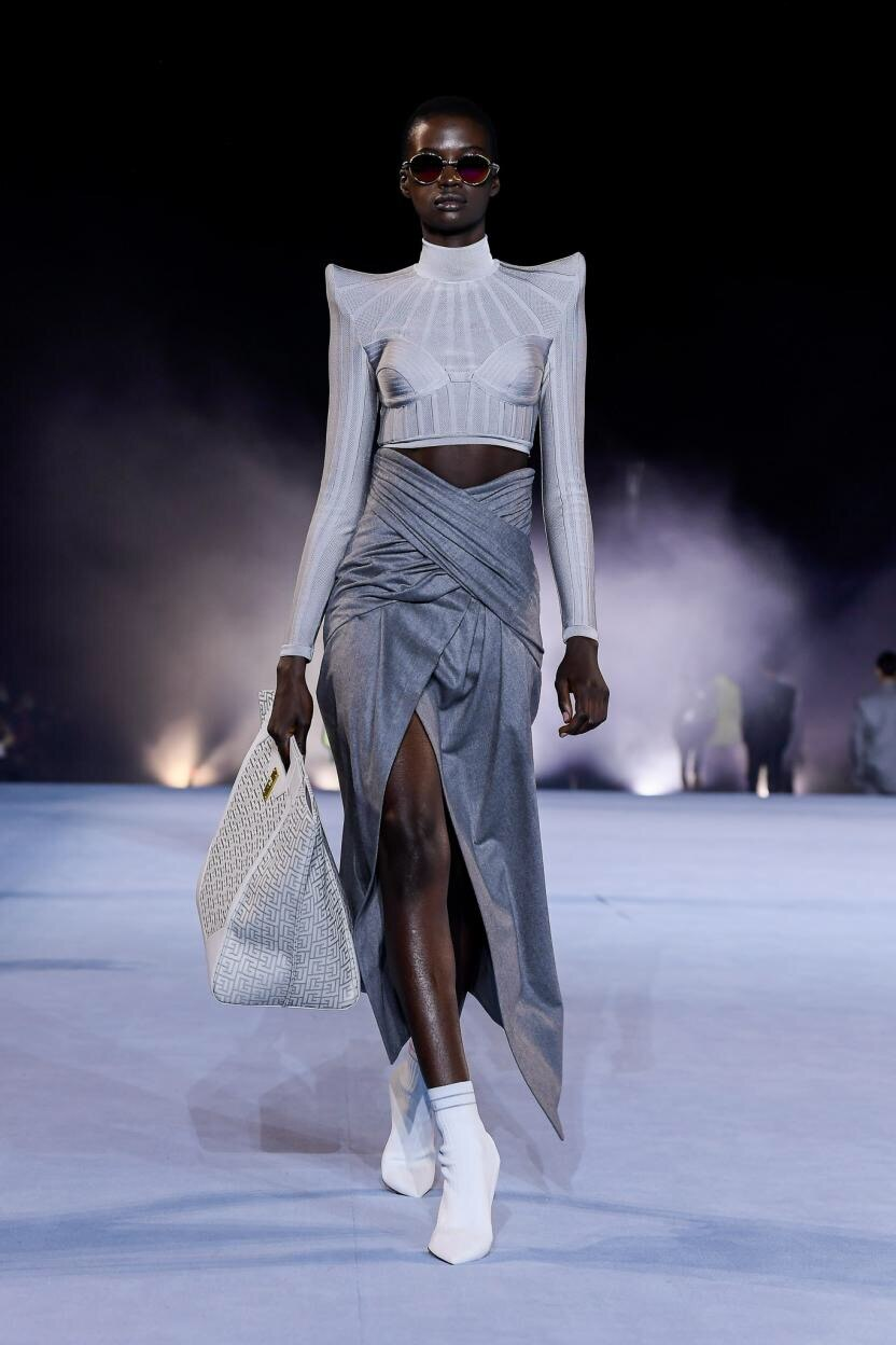 Fashion Spring 2021 Long Sleeve High Waist Knitted Bandage Women Top Celebrity Party Club Wear  Top Women Shirt Blouser