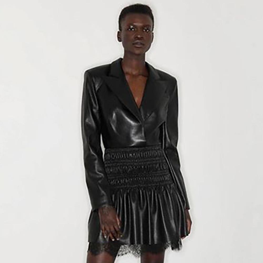 Bodycon Dress Sexy Lace Black PU Bodycon Dress 2021 New Arrivals Women Turn-down Collar Night Club Party Dresses