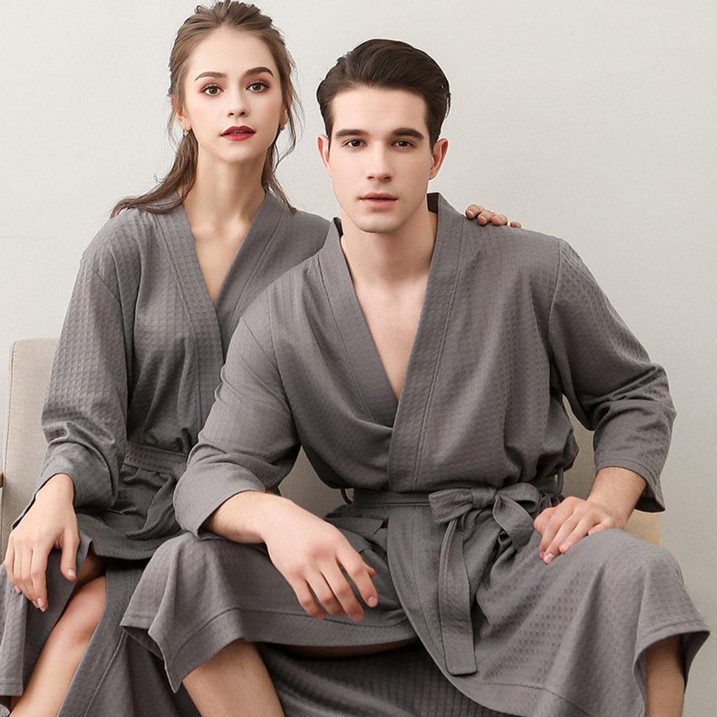 Unisex Albornoz mujeres traje mujer hombres pijamas de algodón transpirable Color sólido Albornoz de empalme ropa de casa bata # G3