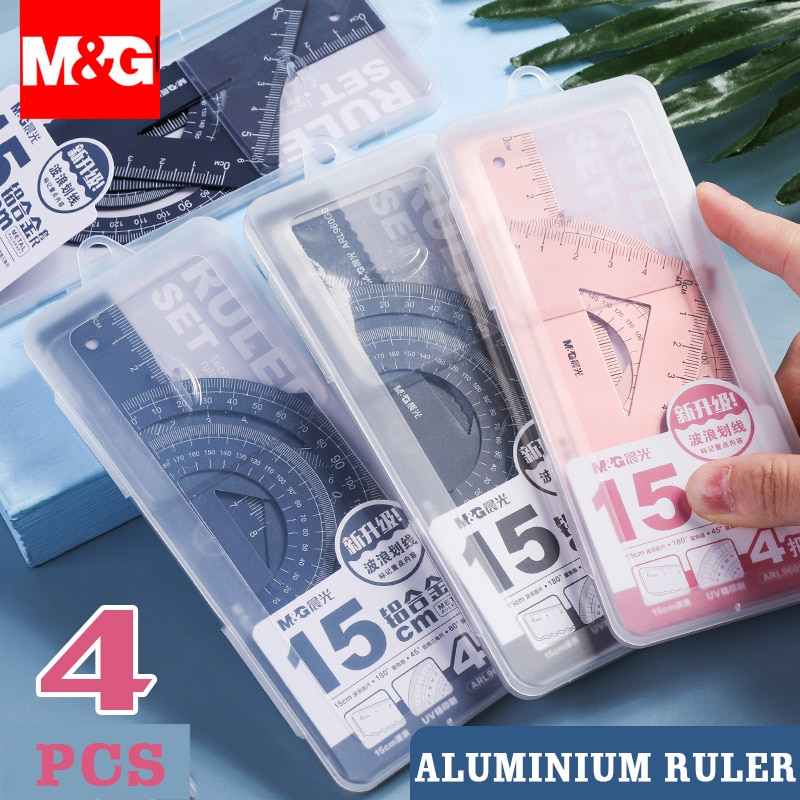 4Pcs/Set M&G Aluminium Ruler Set Metal/Plastic/Soft Geometry Maths Drawing Compass Stationery Rulers Mathematical for School