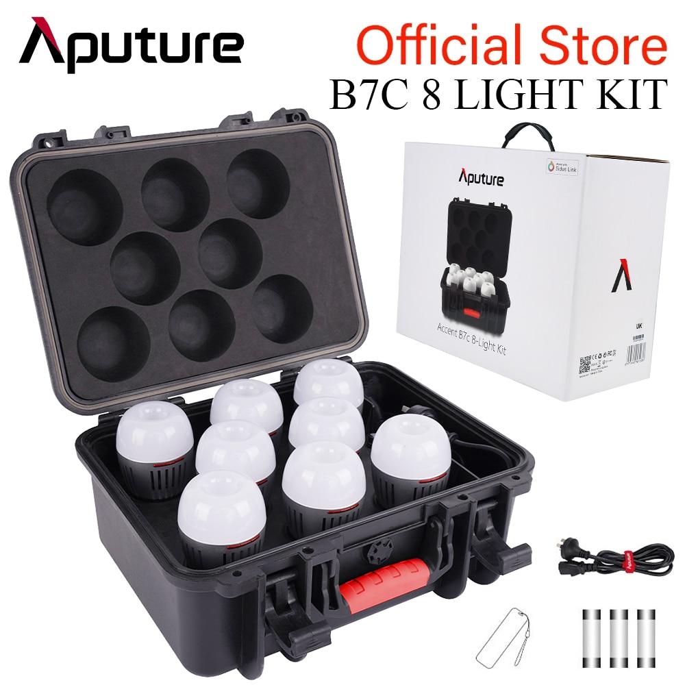 Aputure أكسنت B7C 8 طقم إضاءة 7 واط RGBWW LED مصباح ذكي مع صندوق شحن 2000K-10000K مصباح كاميرا تصوير بالألوان الكاملة