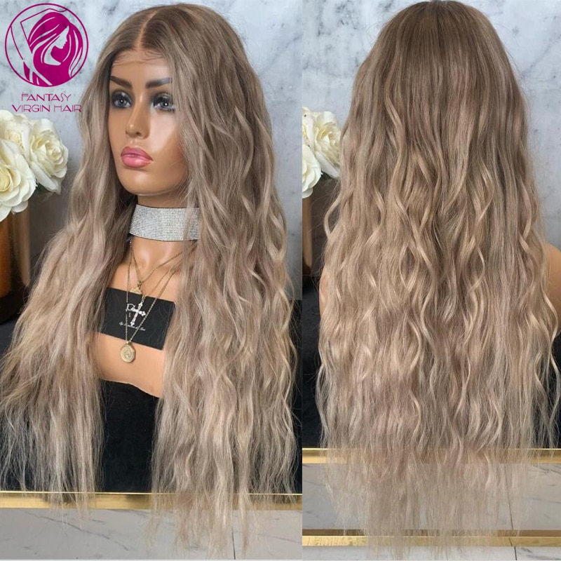 Curly Lace Front Wig Ombre ASh Platinum Blonde Human Hair Wigs 13x4/13x6 Transparent Brazilian Remy Hair for White Women 150%