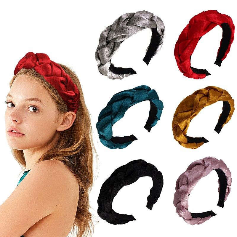 Moda peruca slik/mancha pano cor sólida bandana para mulheres bezel simples hairband com dentes antiderrapante acessórios de cabelo