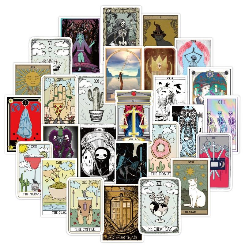 50 unids/set de tarjeta de Tarot de adivinación pegatinas DIY chica material de papelería álbum de recortes portátil maleta para guitarra etiqueta engomada impermeable