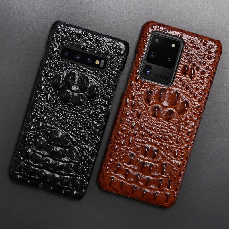 Caixa Do Telefone de couro Para Samsung S20 Ultra S7 S8 S9 S10 Lite S10e Nota 8 9 10 Plus A20 A30 A50 A70 A51 A71 Cabeça de Crocodilo Textura