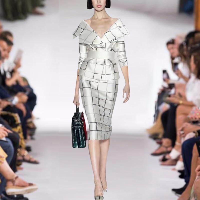 Designer New Women Sets 2021 Spring Autumn High Quality Sexy Elegant Shirt, Stylish Slim Skirt Retro Party Plaid Two-Piece Suit