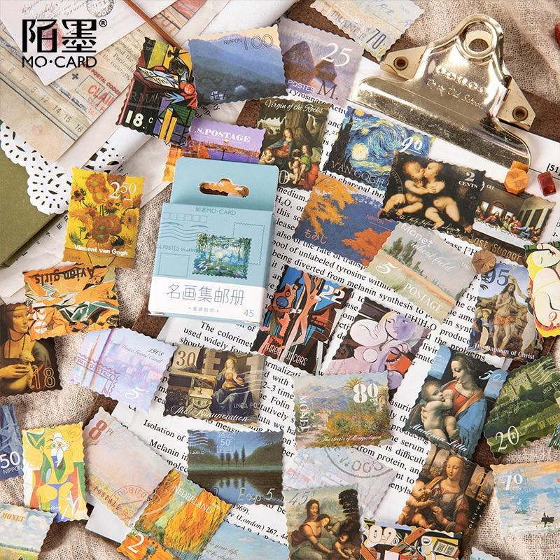 45-pz-pacco-monet-opera-d'arte-adesivo-di-cancelleria-sticker-fai-da-te-album-di-scrapbooking-diary-planner-journal-adesivo-decorativo-etichetta