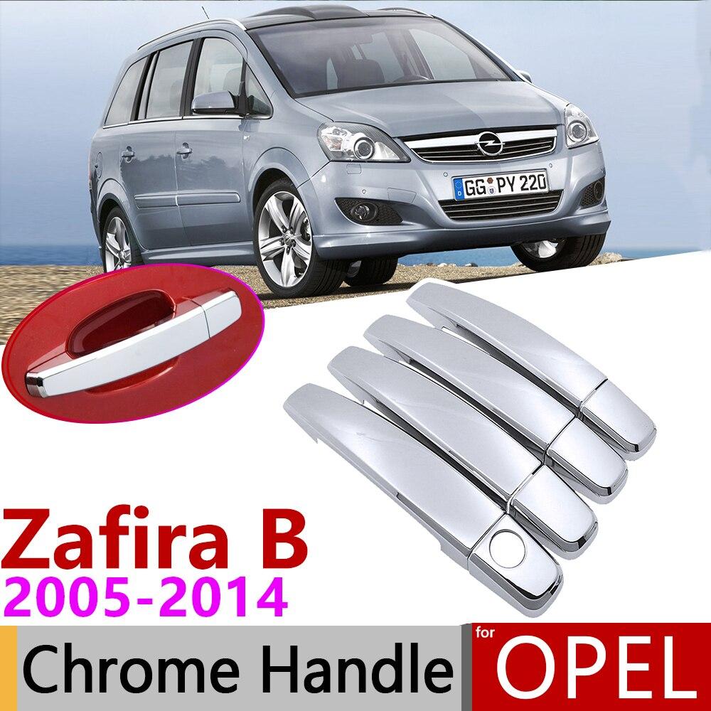 Para Opel Zafira B familia Vauxhall 2005 ~ 2014 cubierta cromada de manija de puerta accesorios de coche pegatinas set de molduras 2006 2007 2008 2009 2010