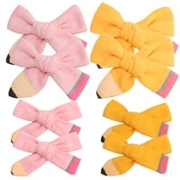 cn 2pcslot 34 back to school hair clip pencil handmade hairbow boutiuqe cotton hairclip for teenage girls students