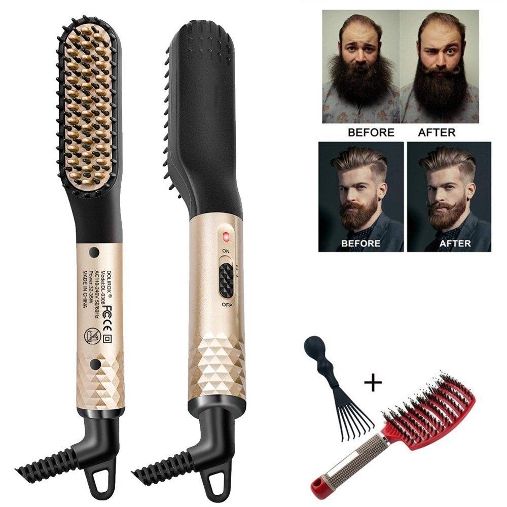 Men's Beard Hair Styler Curling Hair Straighteners Brush  Iron Electric Comb Straightener Fast Heating Curler Hair Caring Tools