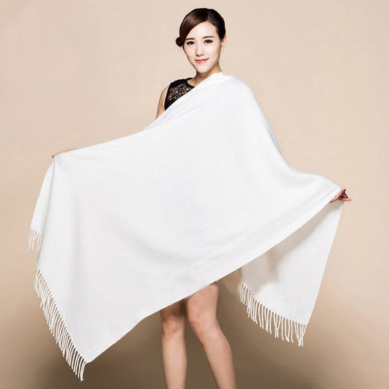 Invierno nuevo blanco 100% suave mujer nueva Lengthen Tippet moda fina borlas cachemir Pashima chal largo bufandas abrigo cálido 120510