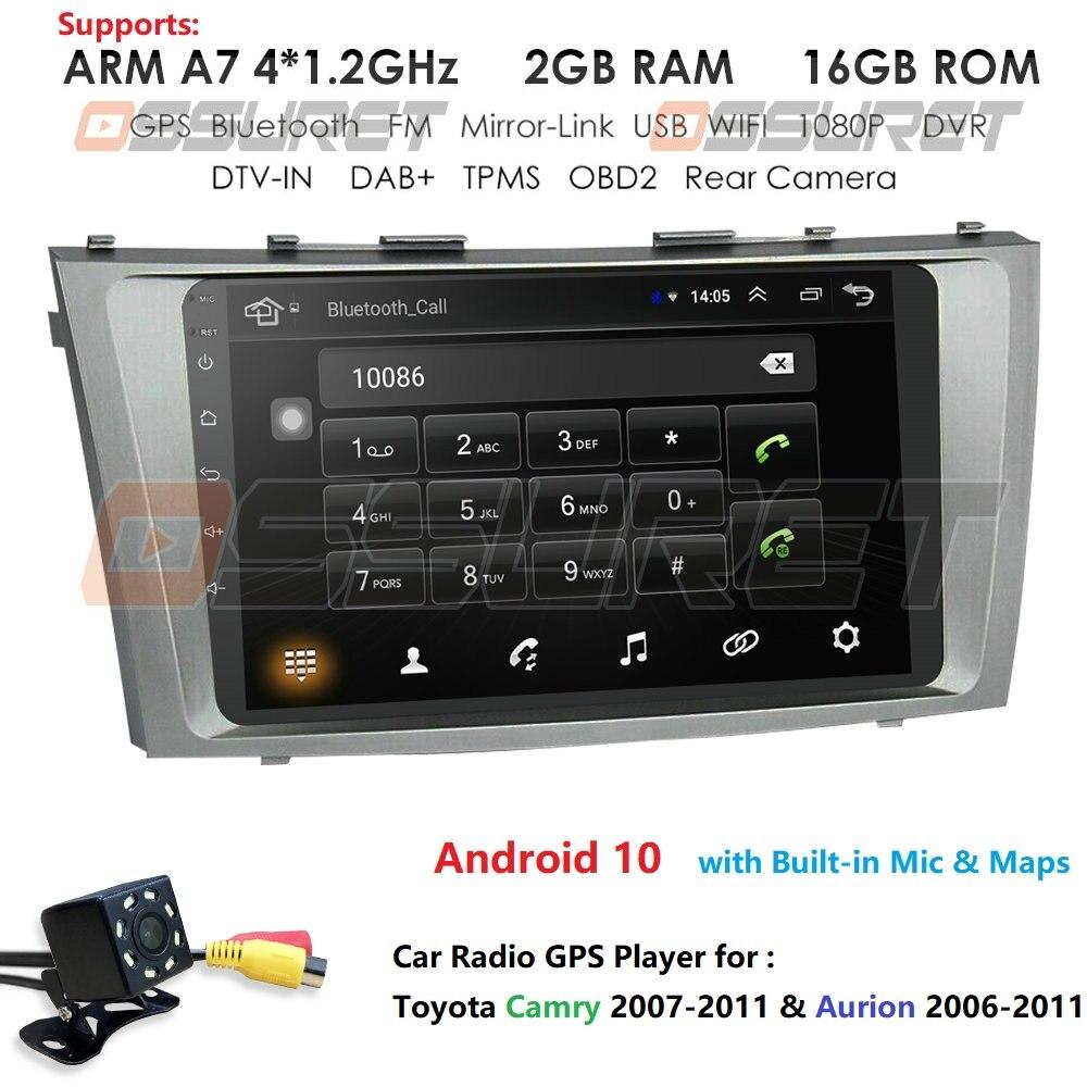 Android 10 2g + 16g jogador multimídia do carro navegação gps jogador de rádio bluetooth para toyota camry aurion 2007 2008 2009 2010 2011