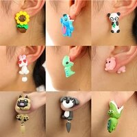 3d cartoon cute animal pendant women earrings polymer clay handmade colorful earrings for women jewelry lovely pig dog pet gift