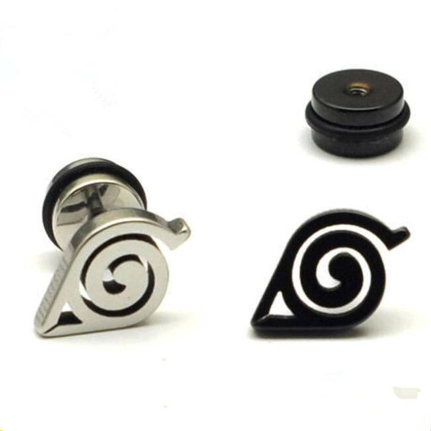Anime Uzumaki Naruto Hokage Konoha Logo Cosplay Props Badge Black Silver Ear Ring Accessories