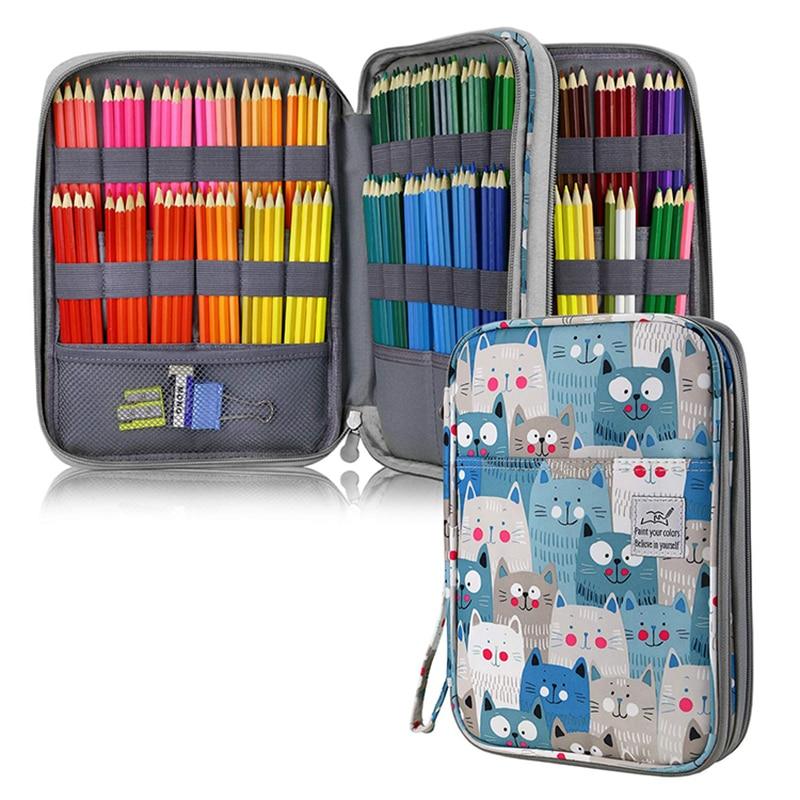 96/192 Holes Cat Pencil Case School for Girls Boys Large Capacity Cartridge Supplies Cute Kawaii Pen Bag Big Stationery Box Kit