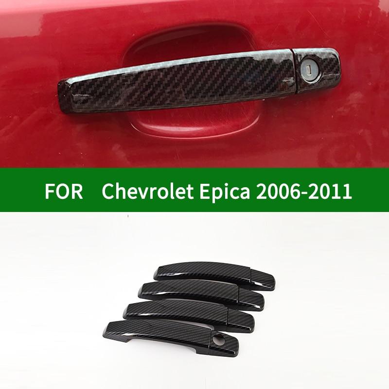 Para Chevrolet Holden Epica Tosca Daewoo Tosca 2006-2011 fibra de carbono negra para manija de puerta lateral de coche cubierta ribete 2007 2008 2009 2010