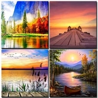 setting sun view of sea diy digital painting by numbers acrylic paint handpainted oil painting adults kit picture for home decor