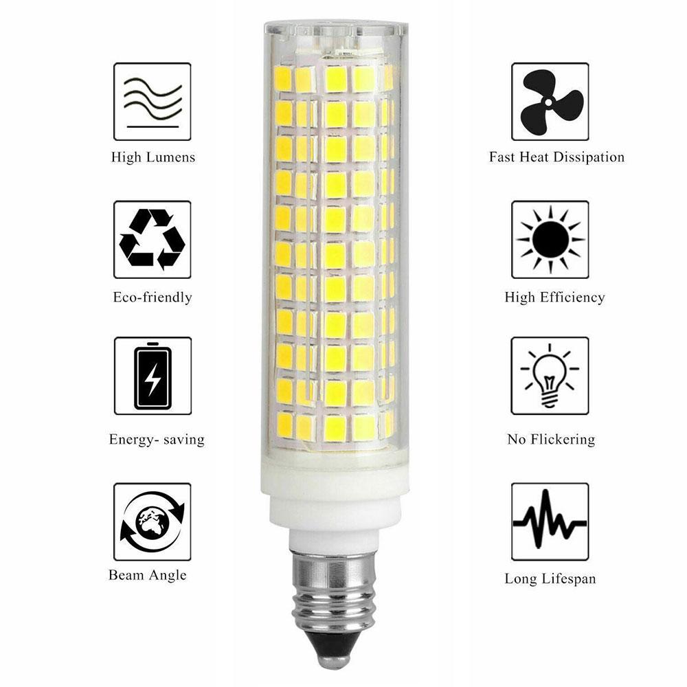 10Pcs Dimmable LED Bulb 15W E14 E12 E11 BA15D LED Corn Crystal Chandelier Light Source LED Ceramic Lamp 136 leds 110V 220V enlarge