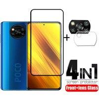 4 в 1 для Xiaomi Poco X3 стекло для Poco X3 Закаленное стекло Защитная полная Защита экрана для Poco F3 F2 M3 Pro X3 стекло для объектива