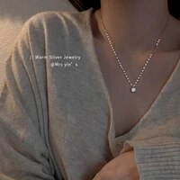 sterling silver solitaire necklace womens clavicle chain exquisite new