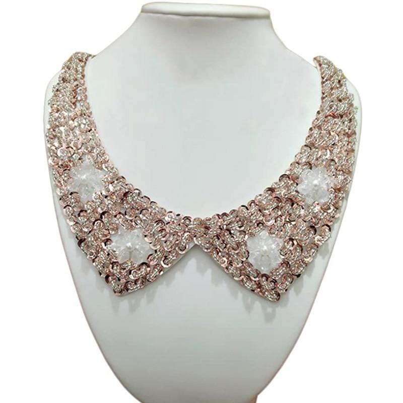 Винтажный воротник с бусинами и кристаллами, ожерелье-чокер, искусственный воротник, женская одежда, аксессуары, милый искусственный ворот...