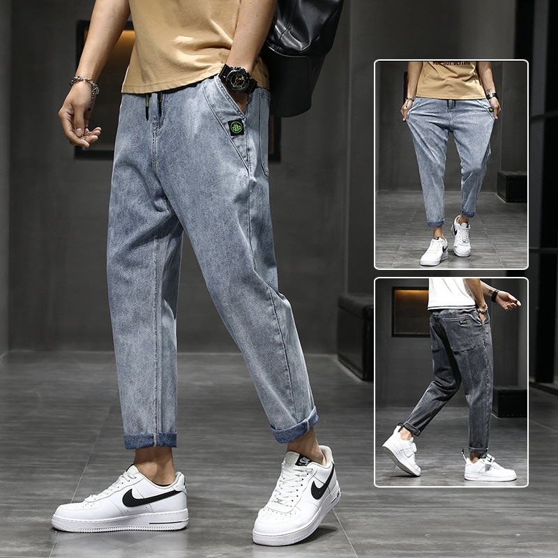 Новинка 2021, модные мужские повседневные джинсы в Корейском стиле, удобные и свободные брендовые Универсальные мужские повседневные джинсы,...