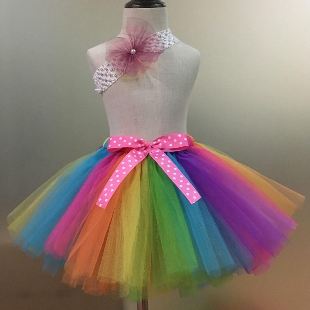 Faldas de tutú Arco Iris bebé niñas faldas de tul Ballet Dance Pettiskirts con lunares Arco y flor diadema niños faldas de fiesta