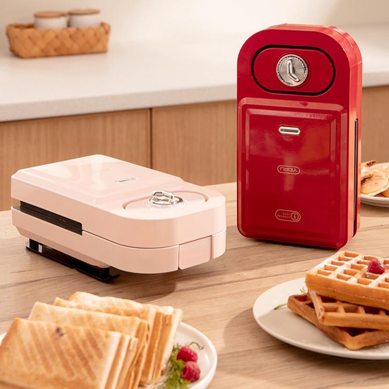 Sandwichera eléctrica para el hogar, máquina para hacer waffles con tiempo, tostadora...