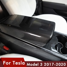 Model3 voiture accoudoir boîte housse de protection pour Tesla modèle 3 accessoires commande centrale accoudoir couverture modèle trois en Fiber de carbone ABS